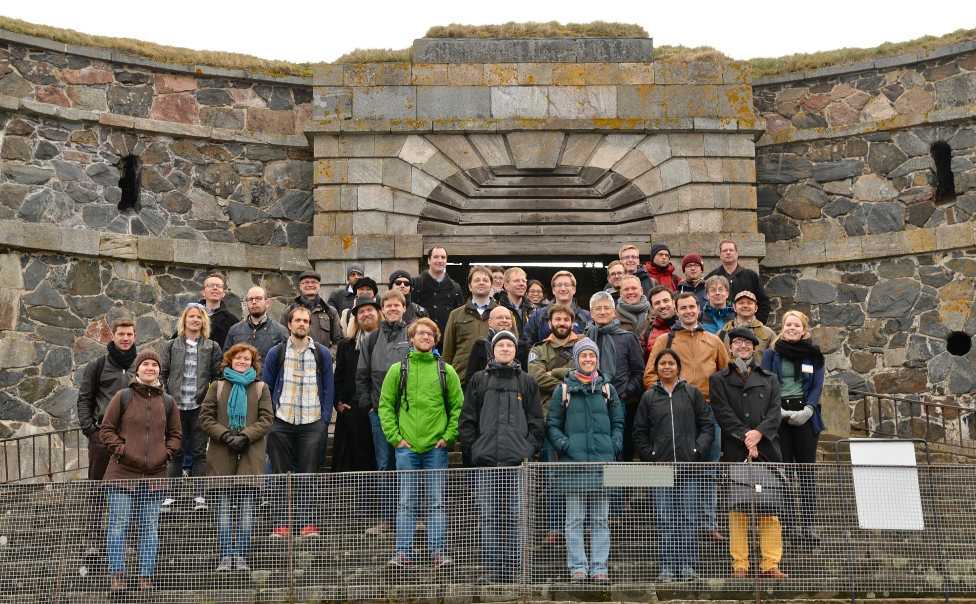 JetMET conference photo at King's Gate, Suomenlinna