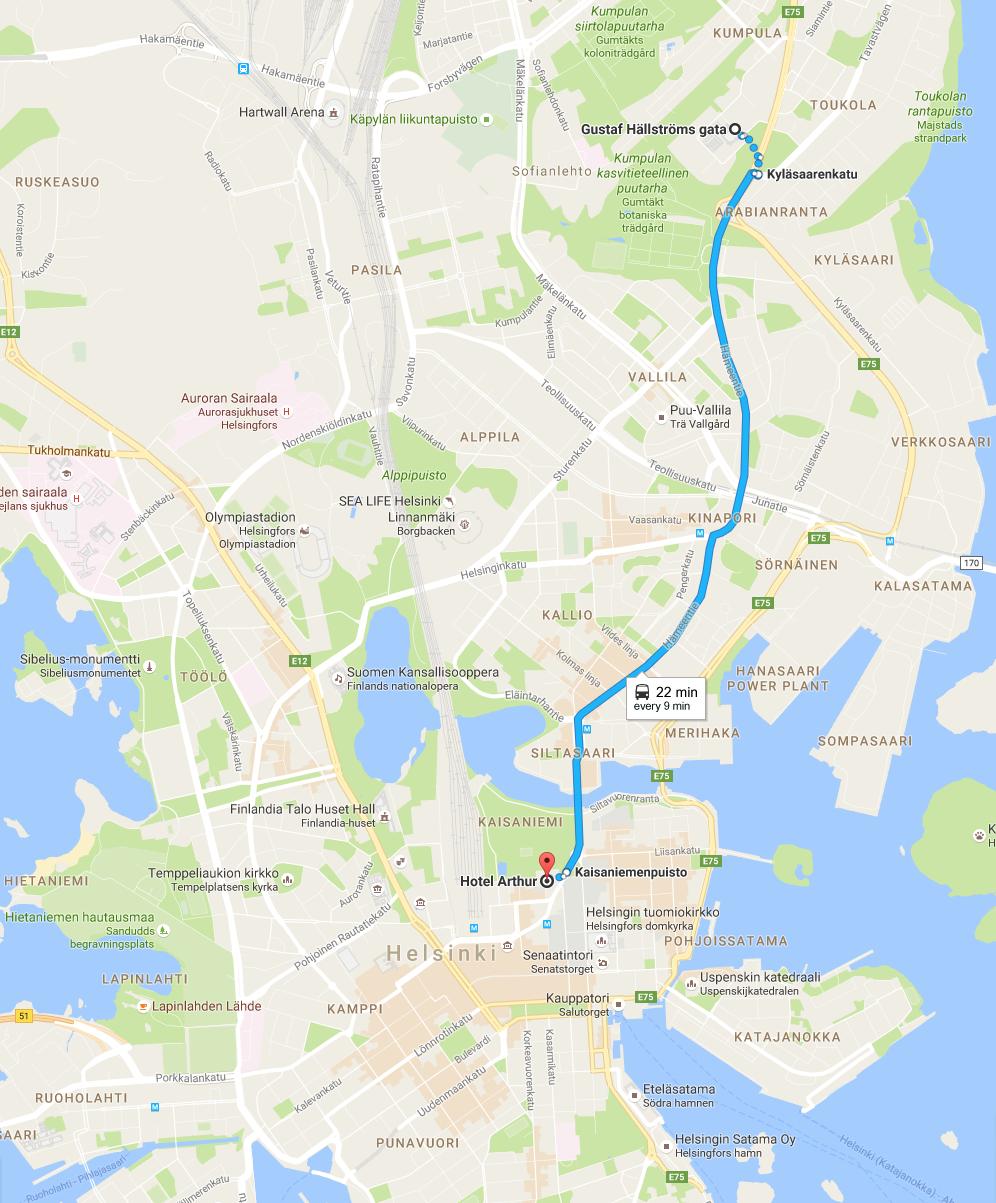 Map from Arthur to Kumpula