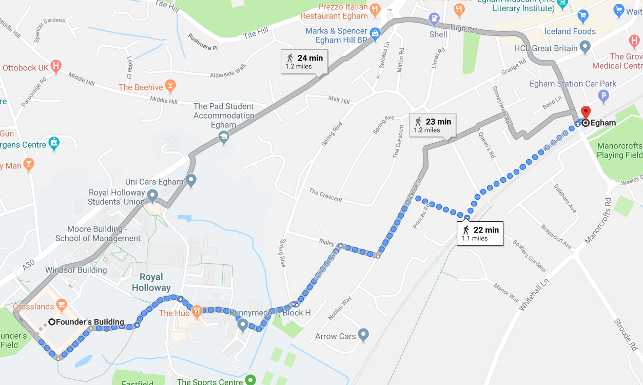 Map to Egham Station