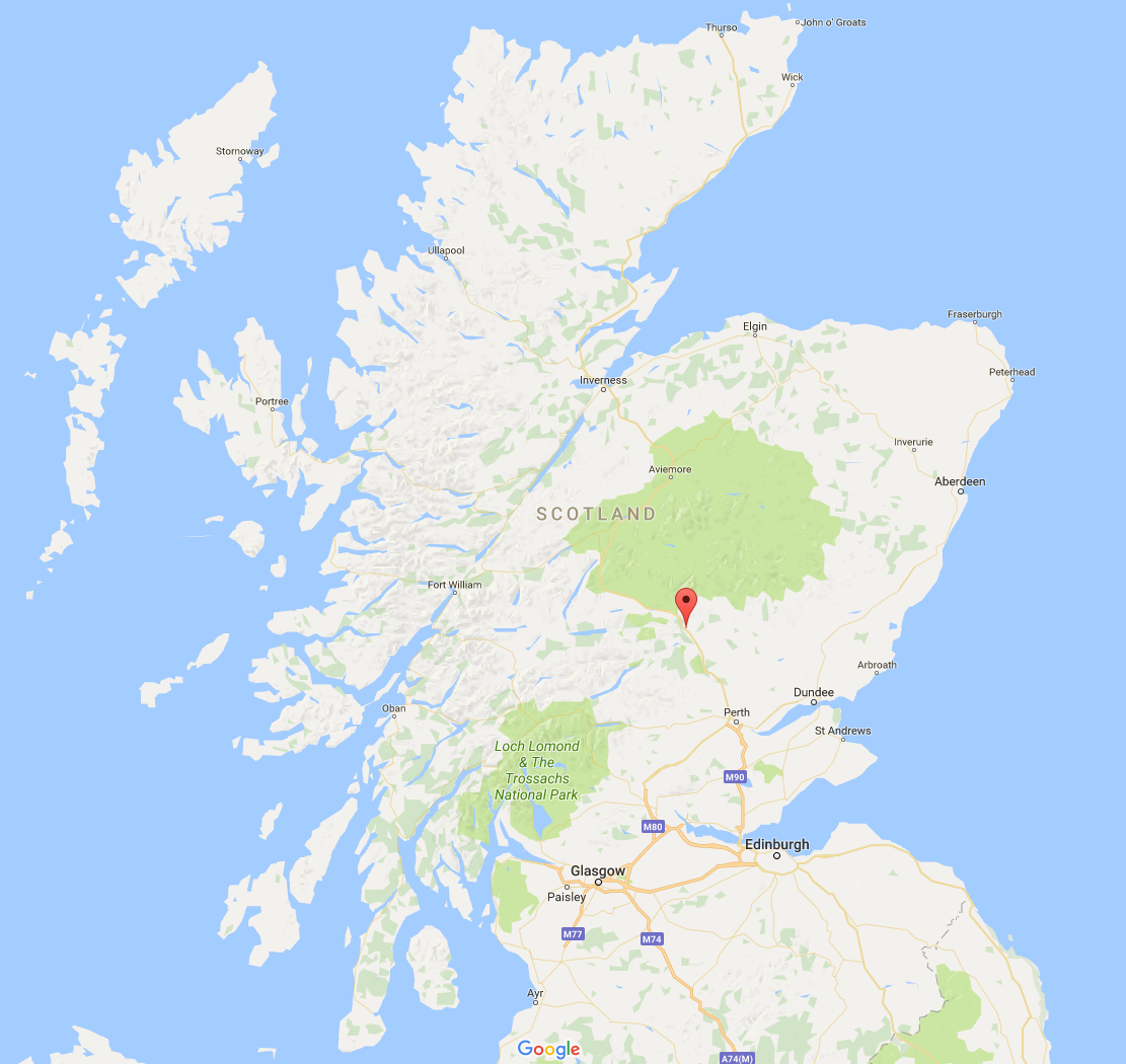 Map of Pitlochry in Scotland